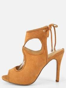 Backless Peep Toe Cut Out Heels CAMEL