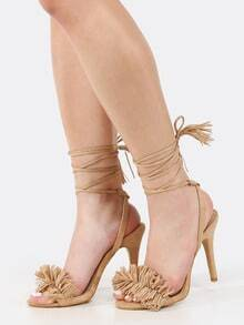 Lace Up Single Sole Tassel Heels NUDE
