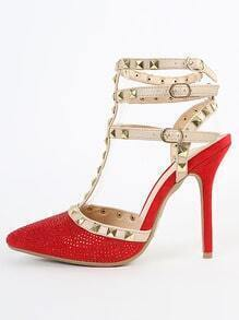 Wild Diva Adora-b Strappy Studded Pumps RED