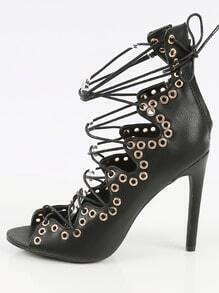 Wild Diva Lounge Griffin- Eyelet Lace Up Gladiator Heels BLACK