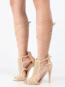 Qupid Interest-125x Lace Up Mesh Booties TAUPE