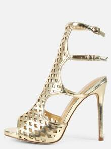 Metallic Laser Cut Stiletto Heels GOLD