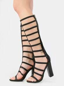 Gladiator Chunky Stacked Heels BLACK