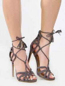 Caged Tassel Single Sole Heels GRAY