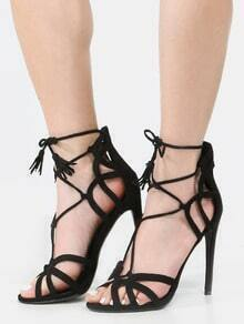 Caged Lace Up Tassel Heels BLACK