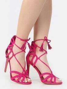 Strappy Tassel Stiletto Heels FUCHSIA