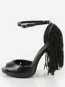 Peep Toe Ankle Strap Layered Fringe Heels BLACK
