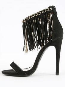 Qupid Glee-78 Chain Fringe Ankle Strap Heels BLACK