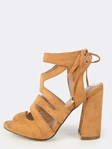 Faux Suede Chunky Heels TAN