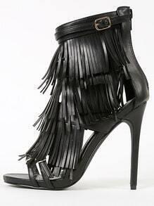 Privileged Melko Strappy Tiered Fringe Heels BLACK
