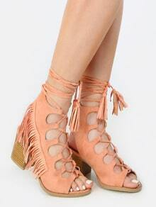 Open Toe Fringe Lace Up Sandals MELON