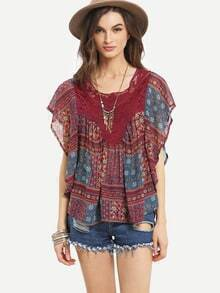 Lace Insert Tribal Print Poncho Blouse - Red