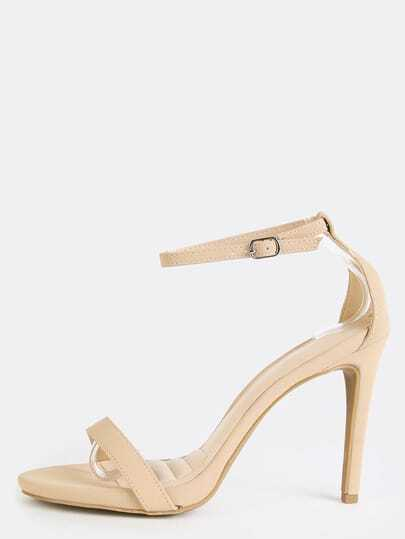 Open Toe Single Sole Stiletto Heels NUDE