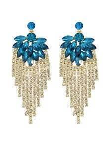 Blue Beautiful Rhinestone Long Earrings