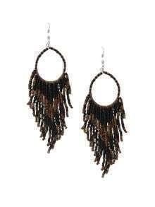 Beaded Fringe Drop Earrings - Black