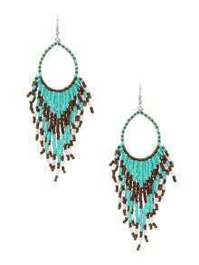 Beaded Fringe Drop Earrings - Mint Green
