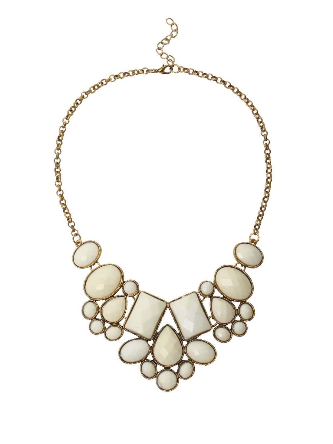 Faux Stone Bib Necklace - White