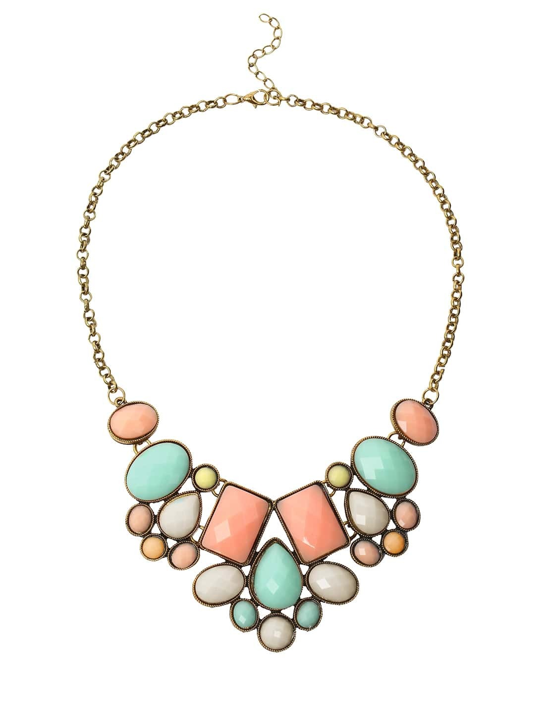 Фото Faux Stone Bib Necklace - Multicolor. Купить с доставкой