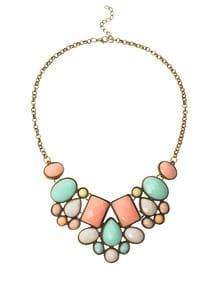 Collana Di Pietra Finta Con Bavaglino - Multicolori