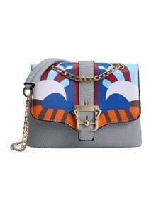 Peacock Print Flap Bag With Chain Strap - Grey