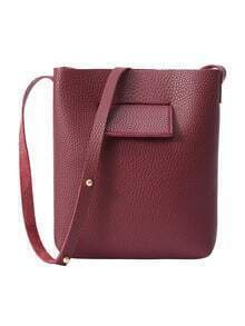 Embossed Faux Leather Bucket Bag - Burgundy