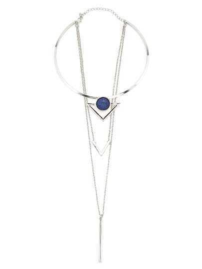 Layered Geometric Shaped Gemstone Pendant Necklace