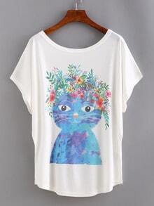 Cat Print Bat Sleeve T-shirt