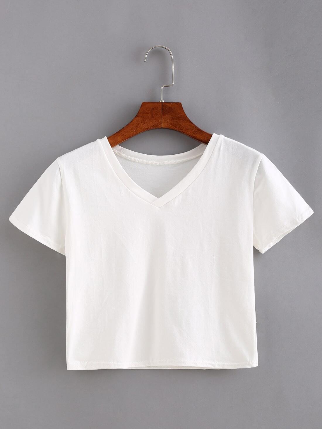 V Neck White Crop T Shirt Shein Sheinside