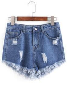 Distresed Raw Hem Denim Shorts - Blue
