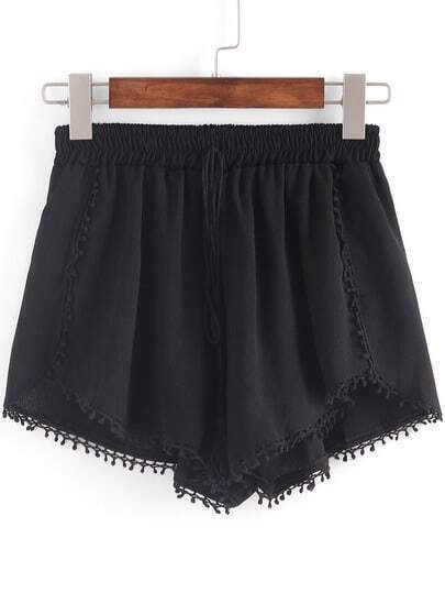 Pom Pom Trimmed Elastic Waist Shorts - Black