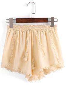 Pom Pom Trimmed Elastic Waist Shorts - Apricot
