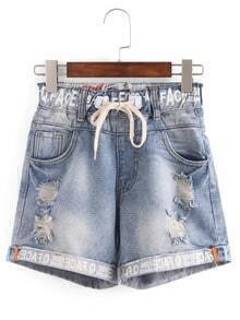 Drawstring Waist Letter Print Denim Shorts