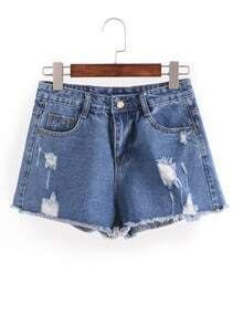 Distresed Raw Hem Denim Shorts