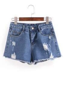 Distresed Raw Hem Denim Shorts