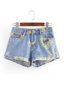 Rolled Hem Flower Print Denim Shorts