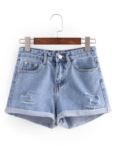 Ripped Rolled Hem Denim Shorts