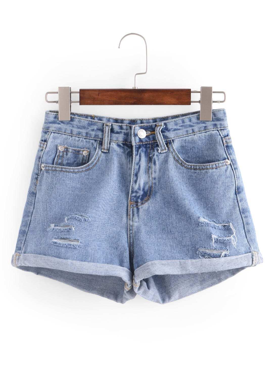 Ripped Rolled Hem Denim Shorts -SheIn(Sheinside)