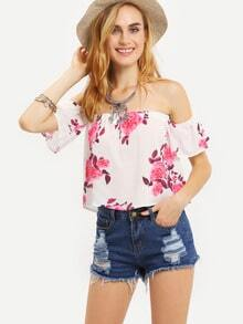 Off-The-Shoulder Flower Print Top - Pink