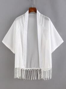 Macrame Fringe Open-Front Chiffon Kimono