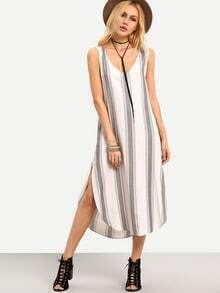 Striped Curved Hem Side Slit Sleeveless Dress