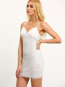 Back Zip Sheath Lace Cami Dress