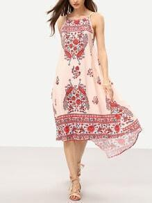 Square Neck Flower Print Asymmetric Cami Dress
