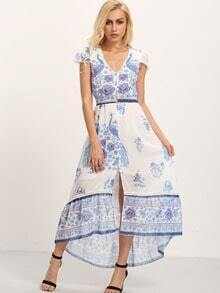 Buttoned Front Flower Print Asymmetric Dress