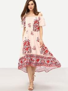 Off-The-Shoulder Flower Print Asymmetric Dress