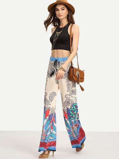 Crop Tank Top With Printed Wide Leg Pants