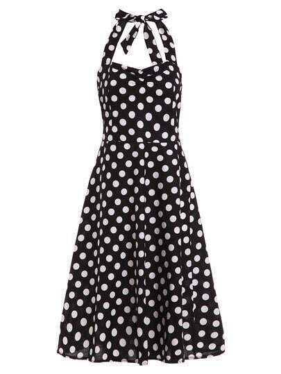 Polka Dot Print Halter Neck Dress