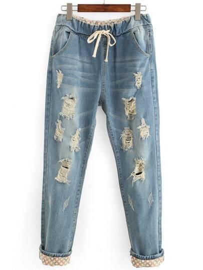 Distressed Drawstring Waist Boyfriend Jeans