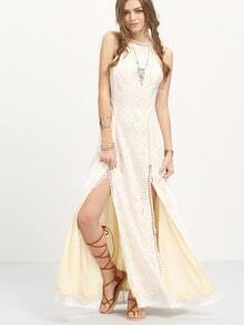 Apricot Sleeveless Split Hollow Back Maxi Dress