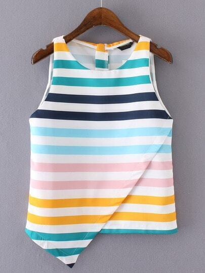 Random Multicolor Striped Asymmetric Hem Tank Top