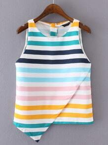 Multicolor Stripe Sleeveless Zipper Back Irregular Hem Tank Top